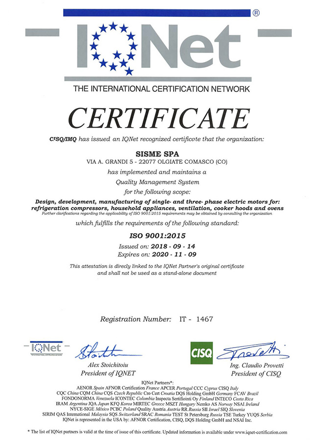 Certificato ISO Azienda Sisme